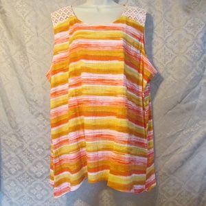 NEW Sleeveless 3X Top Orange Yellow Rust